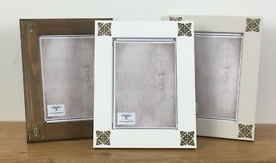 Photo Picture Frame Solid Wood Antique Brass Filigree Corners