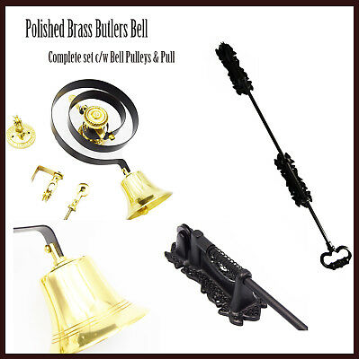 Butlers Bell and Black Cast Sprung Pull, Polished Brass, Butlers Servants Maids