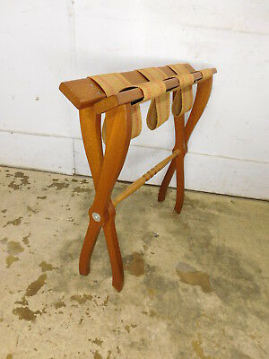 Vintage Well Made Solid Wood Canvas Straps Suitcase Luggage Rack Stand Folding