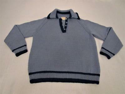 Cable Hand Knit Sweater Women's 100% Wool S-LG. Fisherman Blue Emily A Stoklosa