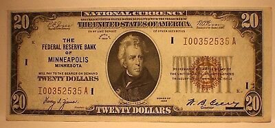FR-1870I  CHOICE AU/UNC. 1929 Series $20 Minneapolis Federal Reserve Bank Note