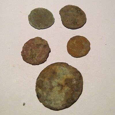 5 Roman coins Ancient Roman Empire Uncleaned Lot#3