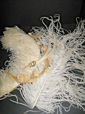 Antique Vtg Ivory Ostrich Feather Plume Millinery Hat Trim French Victorian LOT