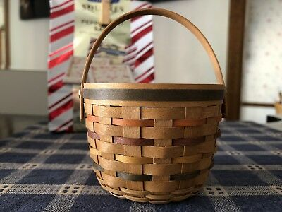Longaberger Style Basket CORN FRUIT APPLE Mini Miniature vintage Handle 1995