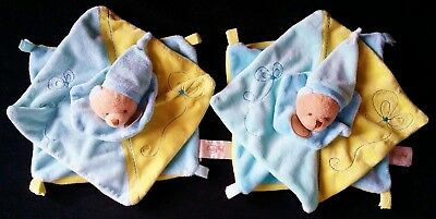 Lot 2 Doudou plat Ours 2 carrés superposés jaune bleu BABY NAT BN-25 (2 dispos)