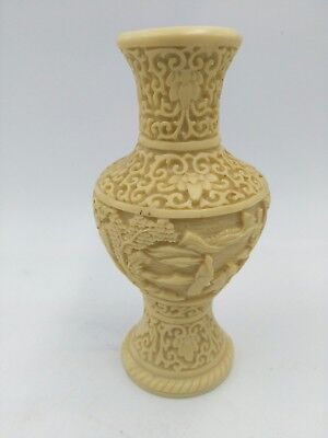 NORLEANS Signed Antique Ornate Italian Vase Hand Carved Celluloid made in italy