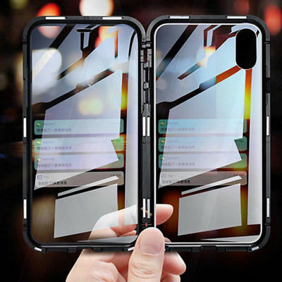 360° Front Back Tempered Glass Magnetic Absorption Case for iPhone XS MAX 7 8
