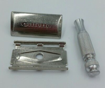 Vintage 1967 Gillette Ball End Marcas Regs 3 pc TECH Travel  Razor  M-3