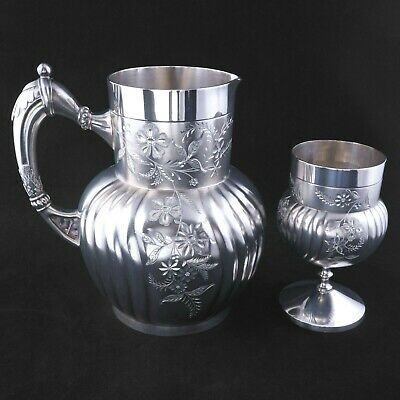 Victorian Silver Plate Pitcher and Goblet Webster & Son - Late 19th Century
