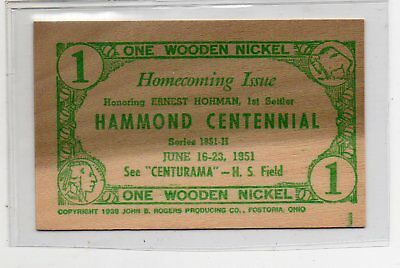 1951 Wooden Nickel Square Extremely Nice Hammond, Indiana