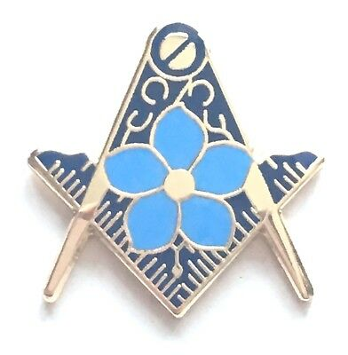 MASONIC FLOWER IN the Square & Compass Gold Plated Enamel Lapel Pin Badge