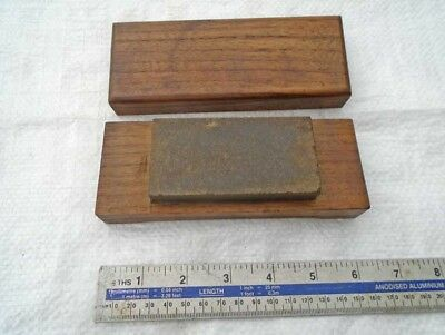 "Vintage Wooden Cased 3 3/4"" x 1 7/8"" PIKE USA Natural WASHITA Honing Oilstone"