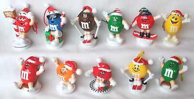 Lot Of 11 Different M&m Candy Tube Topper Christmas Tree Ornaments 1988-1999 Exc