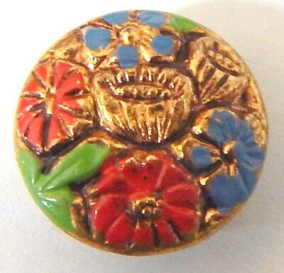 LOVELY ANTIQUE GILT BRASS BUTTON w/COLORFUL ENAMELED FLOWERS