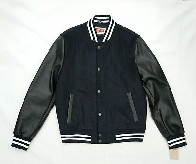 LEVI'S MEN'S NAVY VARSITY JACKET WOOL BLEND Quilted Lining SIZE M NWT MSRP $180