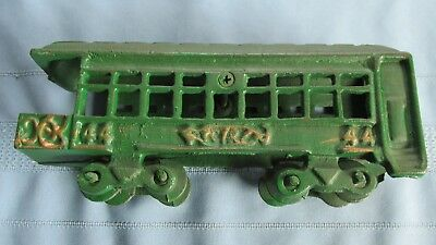 Antique Heavy Cast Iron Toy Train Passenger Car-Green Paint-Likely Reproduction