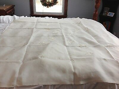 ANTIQUE Elegant Linen Banquet Table, Luncheon Cloth With  Embroidery 20 Pcs