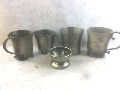 Antique Pewter Lot of 2 Beakers, 2 handled Cups & Open Salt Cellar  (5 Pcs)