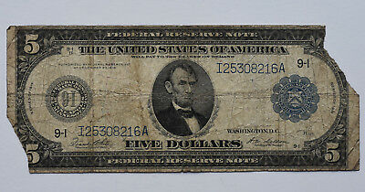 1914 $5 Federal Reserve Note Five Dollar Large Size Currency