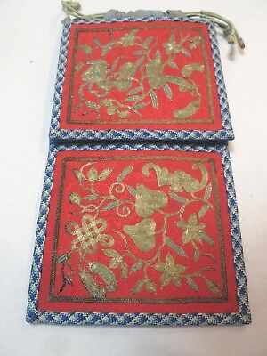 Nice Red Silk Chinese Belt Purse with Gold Metallic Thread Embroidery