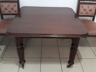 Early Victorian Mahogany Gillows Style Turned Reeded Dining Table Poole Dorset