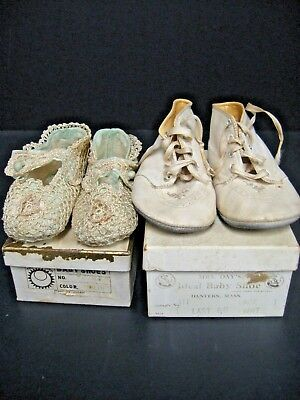 Vintage Baby Shoes  Mrs. Day's Ideal Baby shoes & antique lace silk baby shoes