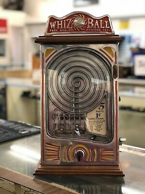 Vintage WHIZ BALL Pace Mfg. Co. Counter-Top 1 Cent Skill Game Trade Stimulator