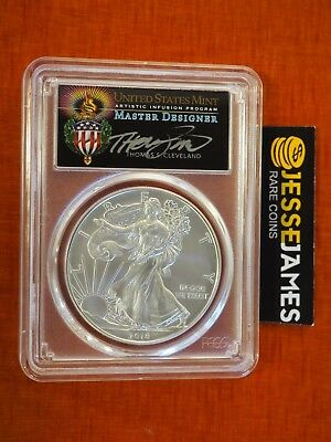 2018 W Burnished Silver Eagle Pcgs Sp70 Cleveland Torch First Day Of Issue Fdi
