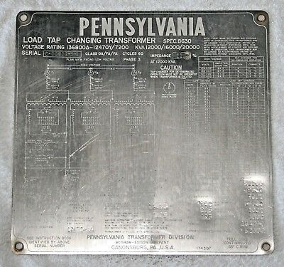 PENNSYLVANIA Transformer Nameplate, Great condition, Collectible and Rare.