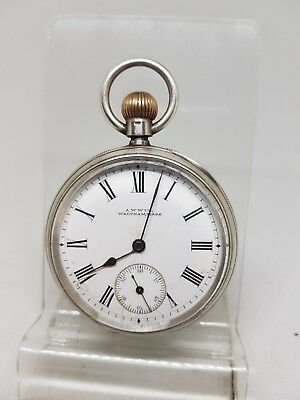 Quality antique solid silver gents Waltham Mass pocket watch c1900 ref344