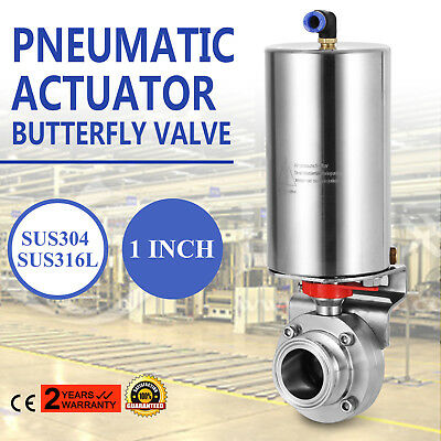 "1"" TRI SANITARY BUTTERFLY VALVE PNEUMATIC ACTUATOR ss304 CLAMP SINGLE-ACTING"