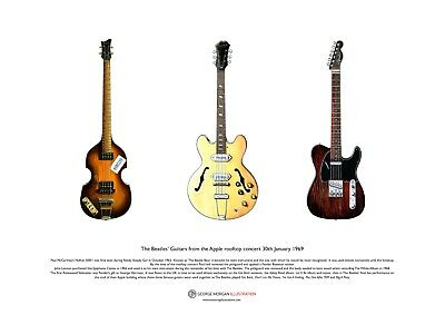 the Beatles' Guitars from the Apple rooftop concert ART POSTER A3 size