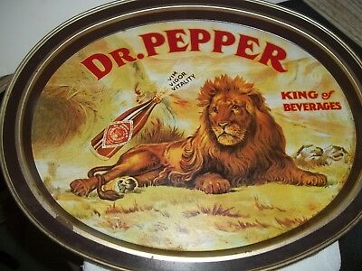 Vintage Dr Pepper Metal Oval Tray King of Beverages Lion Vim Vigor Vitality