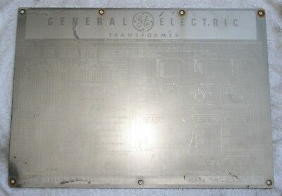 GENERAL ELECTRIC Transformer Nameplate, Great condition, Collectible and Rare.