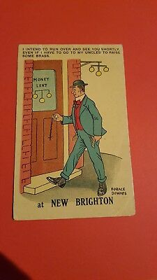HORACE DOWNES OLD COMIC POSTCARD NO 192 USED Pawn broker theme 1917 (B5)