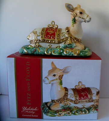 Fitz and Floyd Yuletide Holiday Christmas Reindeer Covered Butter Dish NEW w/Box