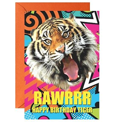 Rawrrrr Happy Birthday Tiger Greetings Birthday Card