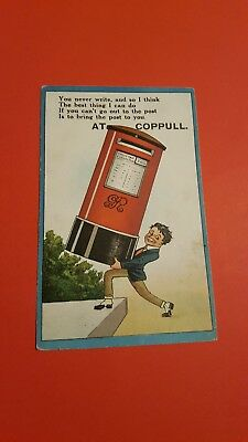 Early Postcard 1917 Red Postbox Comic Humour (B5)