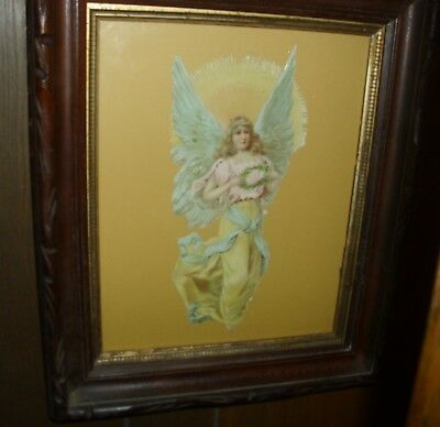 "Antique 11""  Raphael Tuck Die Cut Scrap Angel Framed in Victorian Walnut EUC"
