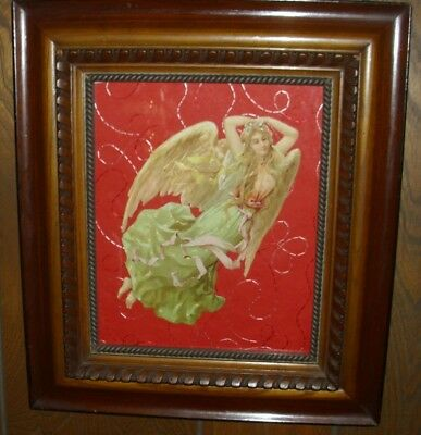 "Antique 10"" Die Cut Scrap Angel FRAMED  EUC B"