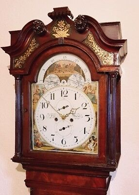 "Georgian ""Boxing /prizefighter"" Oak Moonroller Longcase Grandfather Clock"