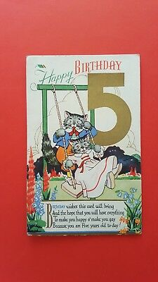 5th Birthday Greeting Postcard Cats On A Swing (B1)