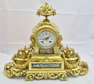 Antique French Mantle Clock Bronze Ormolu 8 Day Beautiful Blue Sevres porcelain