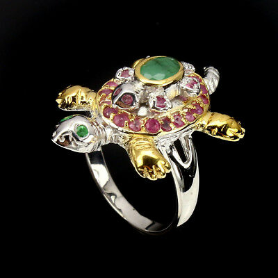 Oval 6x4mm Top Rich Green Emerald Ruby 925 Sterling Silver Turtle Ring 9