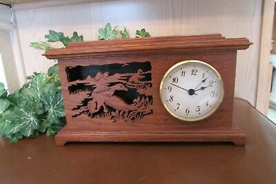 Vintage Primex Battery Operated Clock Wood cutout  Ducks in flight Scene Works!