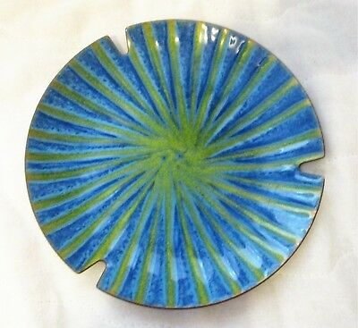 VINTAGE Mid Century Modern COPPER over Enamel Dish Ashtray SIGNED Blue Green