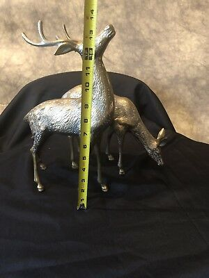 Pair Of Brass Reindeer Deer Doe Buck Large Vtg Nice Patina