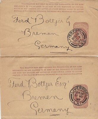 Two G B Wrappers Queen Victoria U K 1897 to Germany