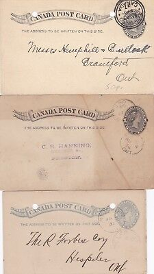 Canada Three Postal Stationary Cards Queen Victoria Used