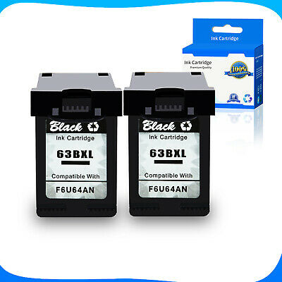 2x Black 63-XL Ink For HP Officejet 4655 4654 5220 5232 5252 5258 W/new Chip
